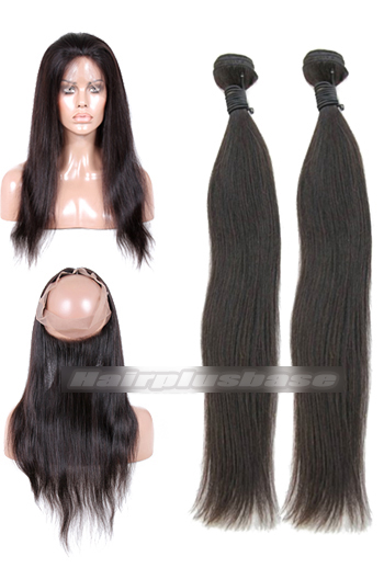 Natural Straight Indian Virgin Hair 360°Circular Lace Frontal with 2 Weaves Bundles Deal