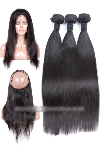 Natural Straight Indian Virgin Hair 360°Circular Lace Frontal with 3 Weaves Bundles Deal