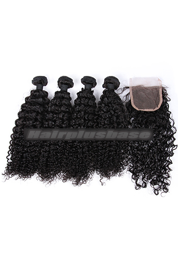 10-26 Inch Water Wave Virgin 6A Human Hair Extension A Lace Closure With 4 Bundles Deal