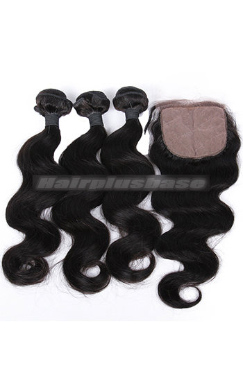 Body Wave Virgin Indian Human Hair Extension A Silk Base Closure with 3 Bundles Deal