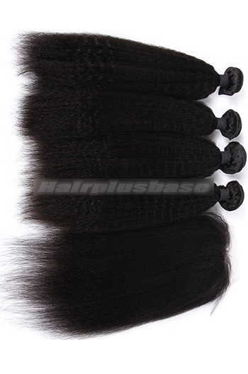10-26 Inch Kinky Straight Virgin Indian Human Hair Extension A Silk Base Closure with 3 Bundles Deal
