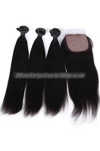 10-26 Inch Light Yaki Virgin Indian Human Hair Extension A Silk Base Closure with 3 Bundles Deal