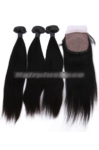 10-26 Inch Straight Virgin Indian Human Hair Extension A Silk Base Closure with 3 Bundles Deal