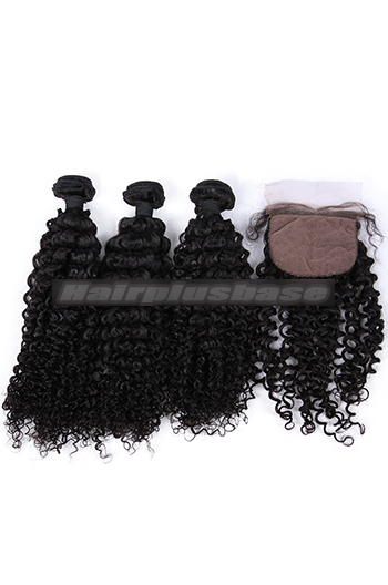 Water Wave Virgin Indian Human Hair Extension A Silk Base Closure with 3 Bundles Deal