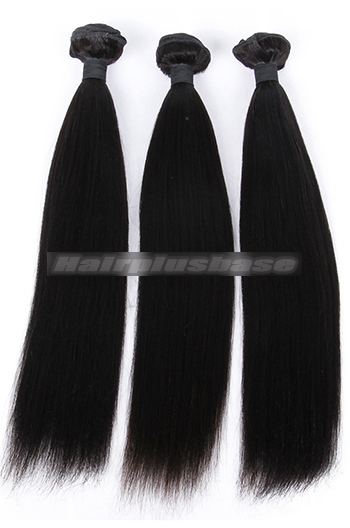10-26 Inch Yaki Straight Indian Virgin Hair Weaves 3 Bundles Deal