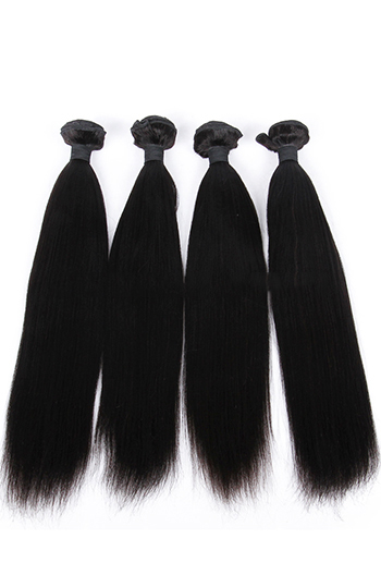 10-26 Inch Yaki Straight Indian Virgin Hair Weaves 4 Bundles Deal