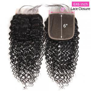 Jerry Curly Human Hair 6x6 Lace Closure Unprocessed Virgin Hair