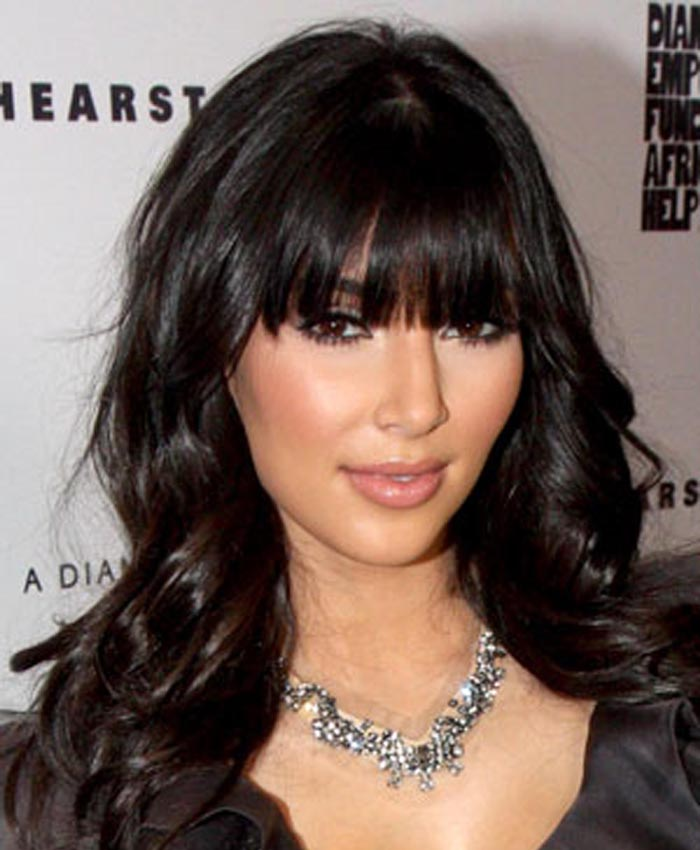 Kim Kardashian Inspired Full Bangs Big Wave Lace Front Wigs Indian Remy Hair