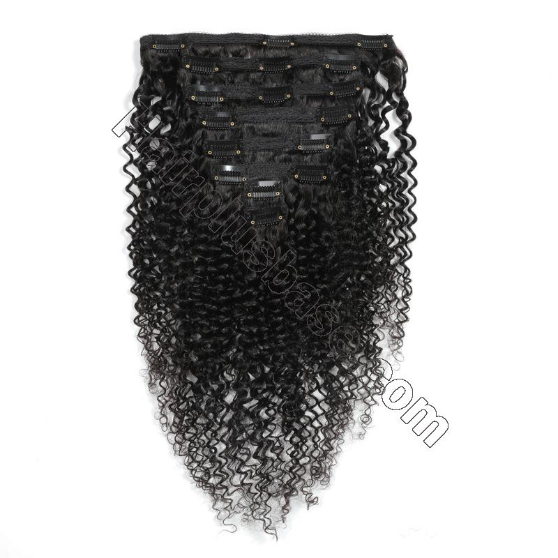 Kinky Curly Clip In Human Hair Extensions For Black Hair 120g 2