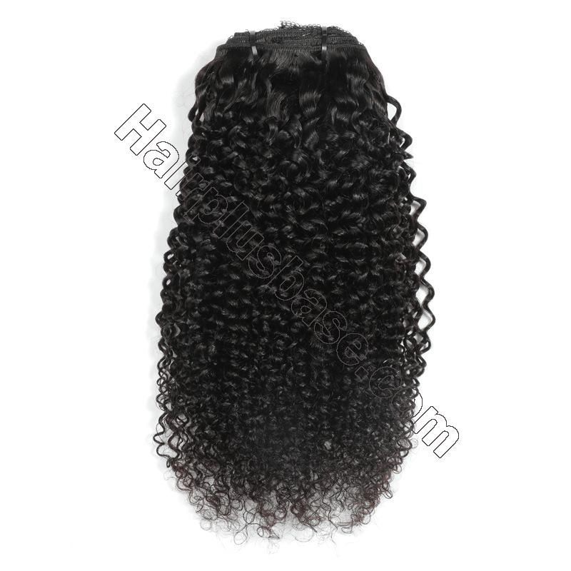 Kinky Curly Clip In Human Hair Extensions For Black Hair 120g 4
