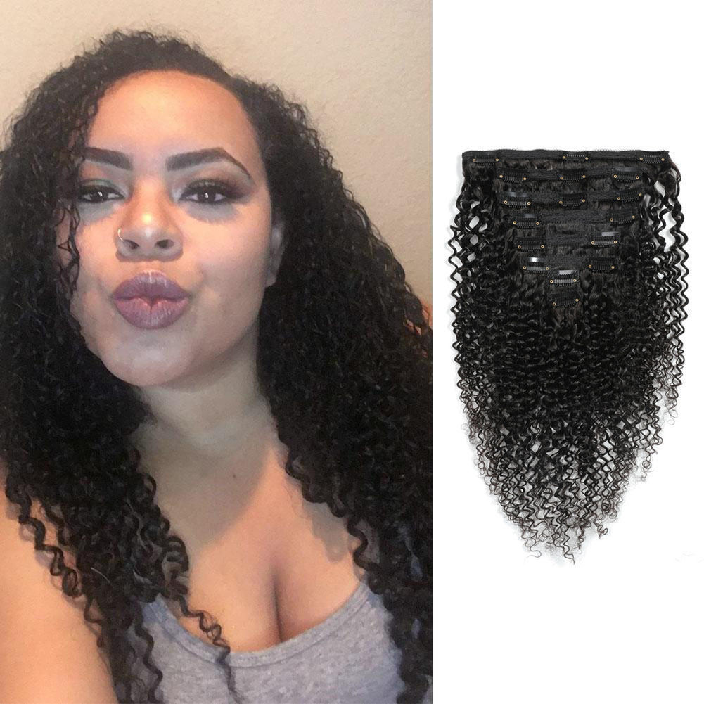 Kinky Curly Clip In Human Hair Extensions For Black Hair 120g 8