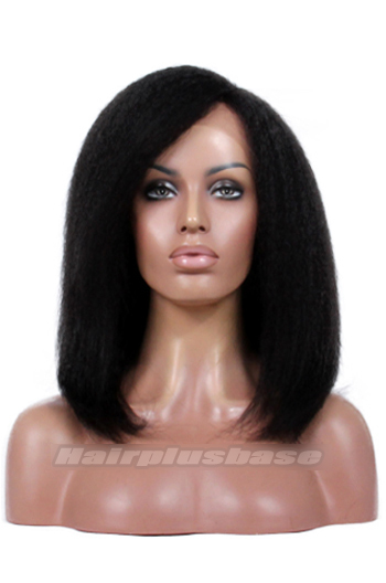 14 Inch Kinky Straight Side Part Medium Bob Style Virgin Human Hair Lace Wigs