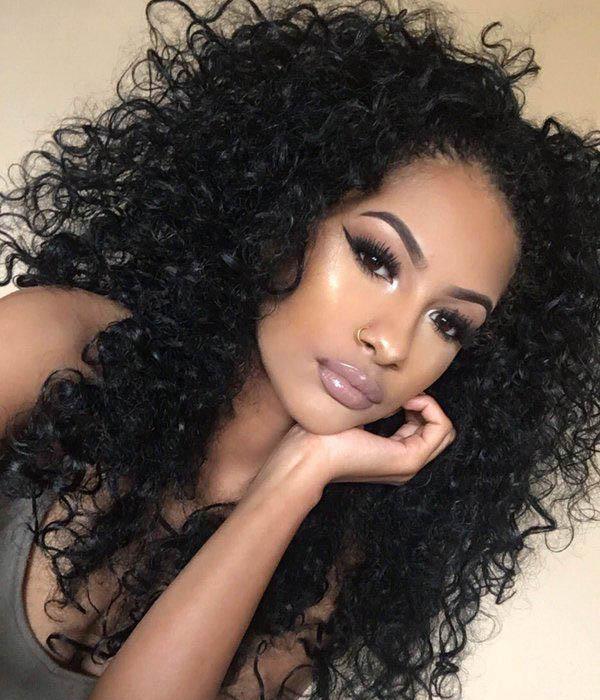Lace Front Wigs Brazilian Virgin Human Hair Deep Curly 0