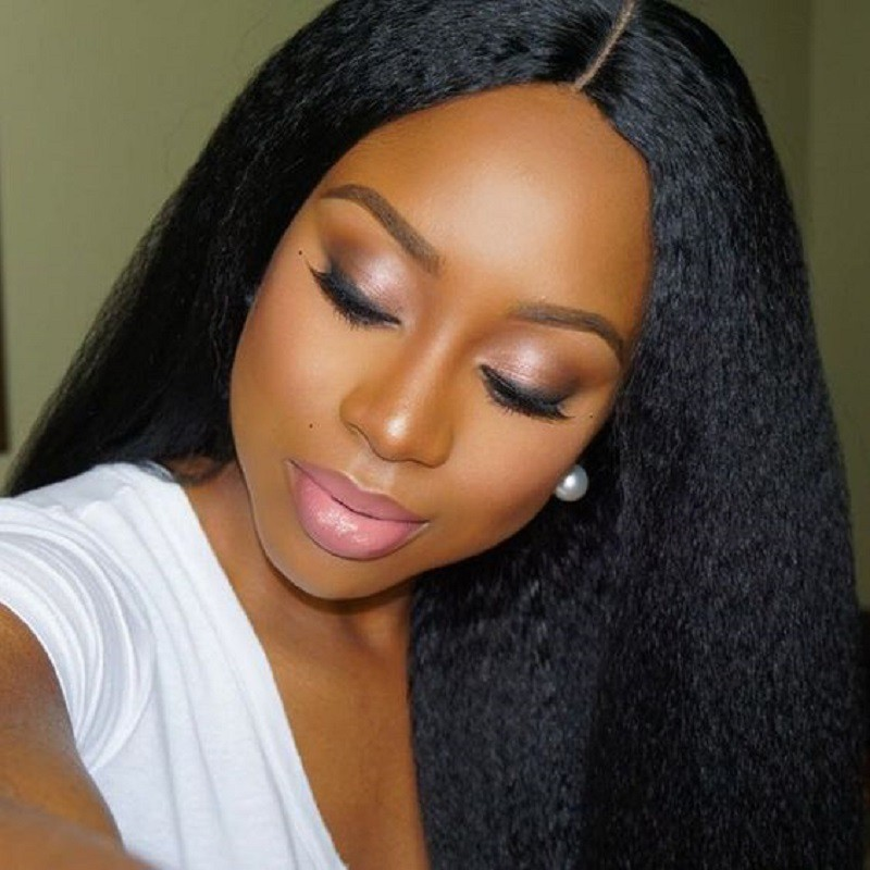 Lace Front Wigs Brazilian Virgin Human Hair Kinky Straight Middle Part 0