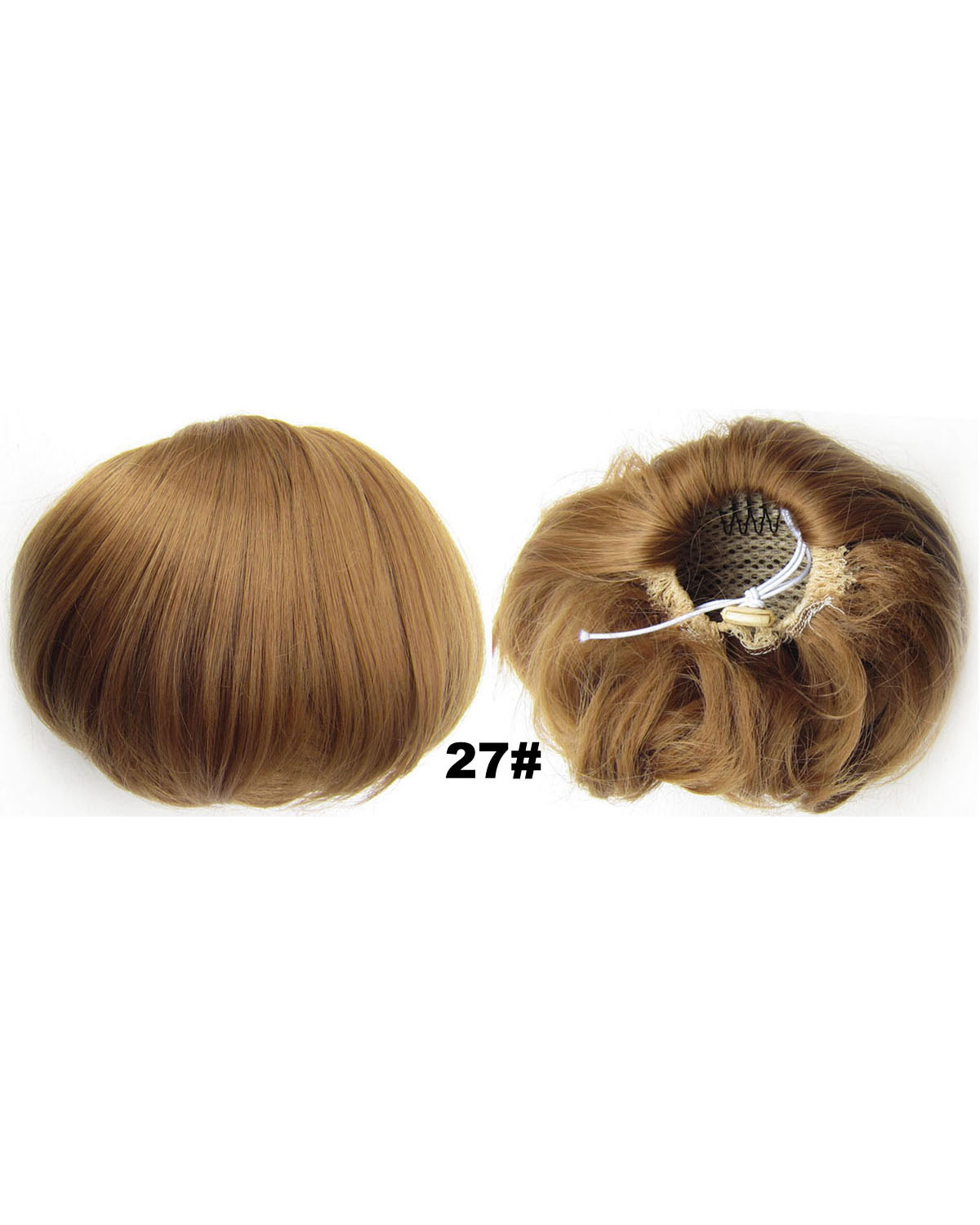 Ladies Beautiful Straight Short Hair Buns Drawstring Synthetic Hair Extension Bride Scrunchies 27#