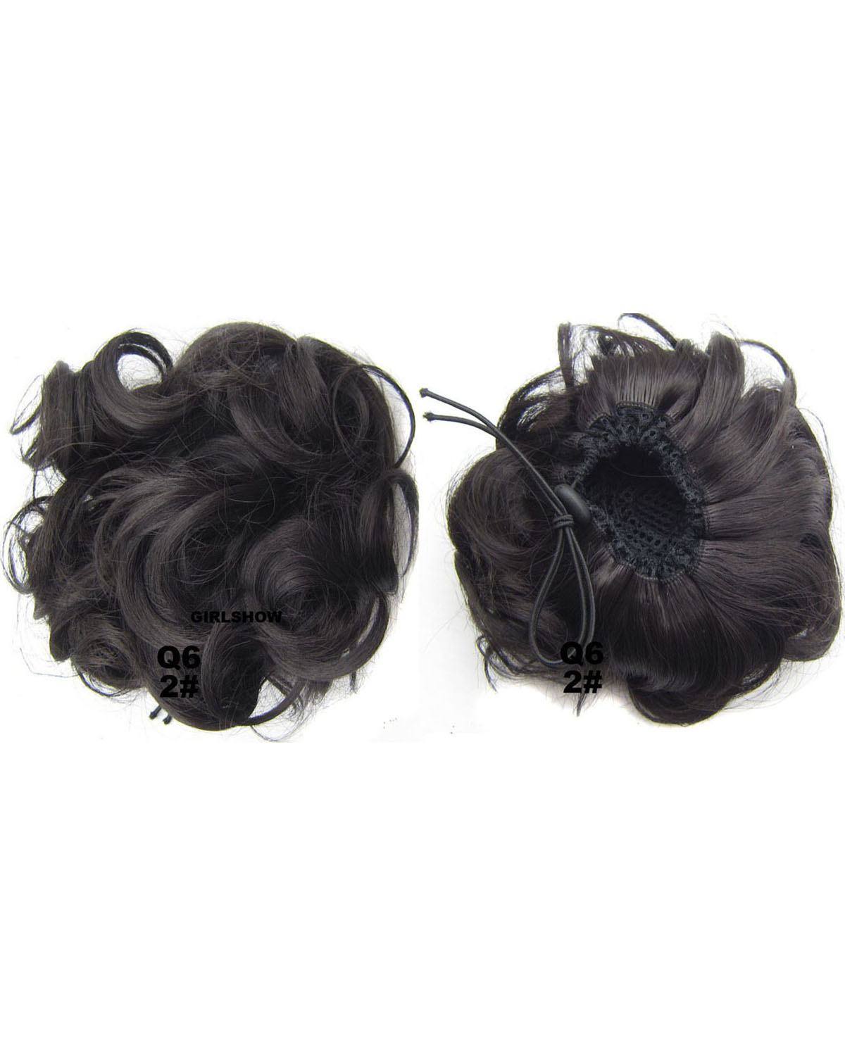 Ladies Bright and Smooth Curly and Short Hair Buns Drawstring Synthetic Hair Extension Bride Scrunchies  2#