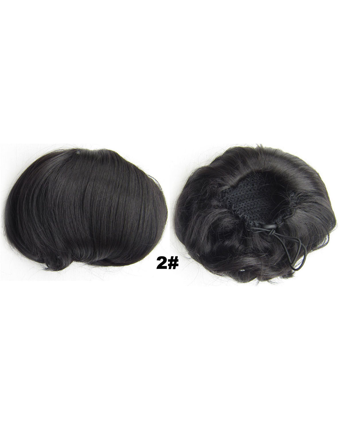 Ladies Bright Straight Short Hair Buns Drawstring Synthetic Hair Extension Bride Scrunchies 2#