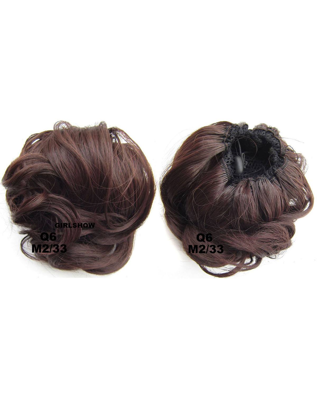 Ladies Classic Curly and Short Hair Buns Drawstring Synthetic Hair Extension Bride Scrunchies M2/33