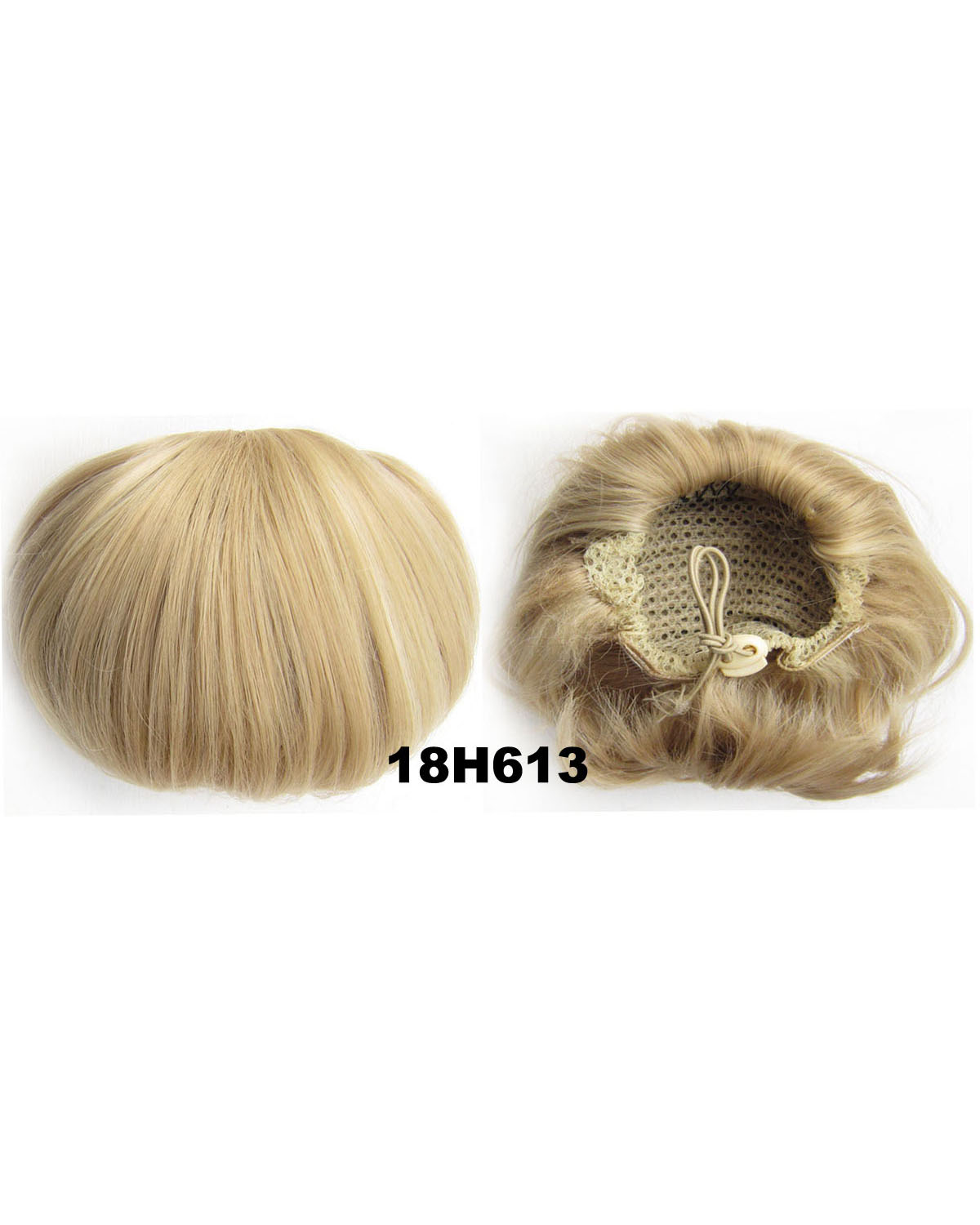 Ladies Clean and Neat Straight Short Hair Buns Drawstring Synthetic Hair Extension Bride Scrunchies 18H613