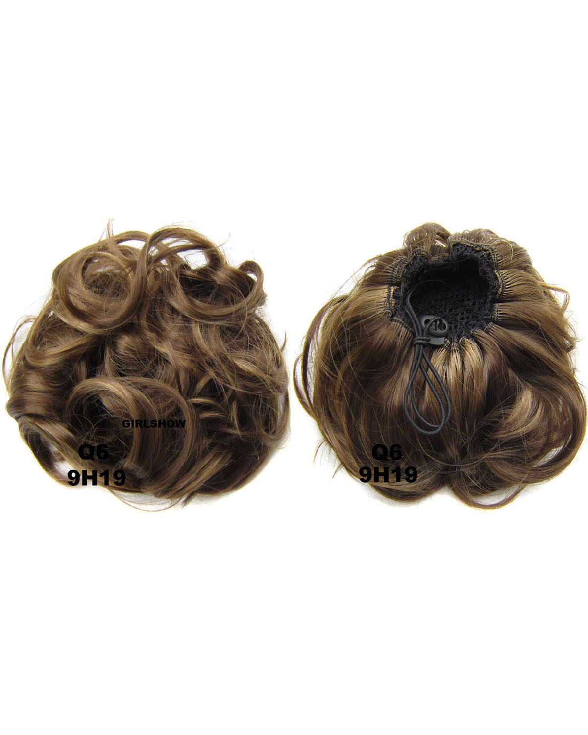 Ladies Clean and Silky Curly and Short Hair Buns Drawstring Synthetic Hair Extension Bride Scrunchies  9H19