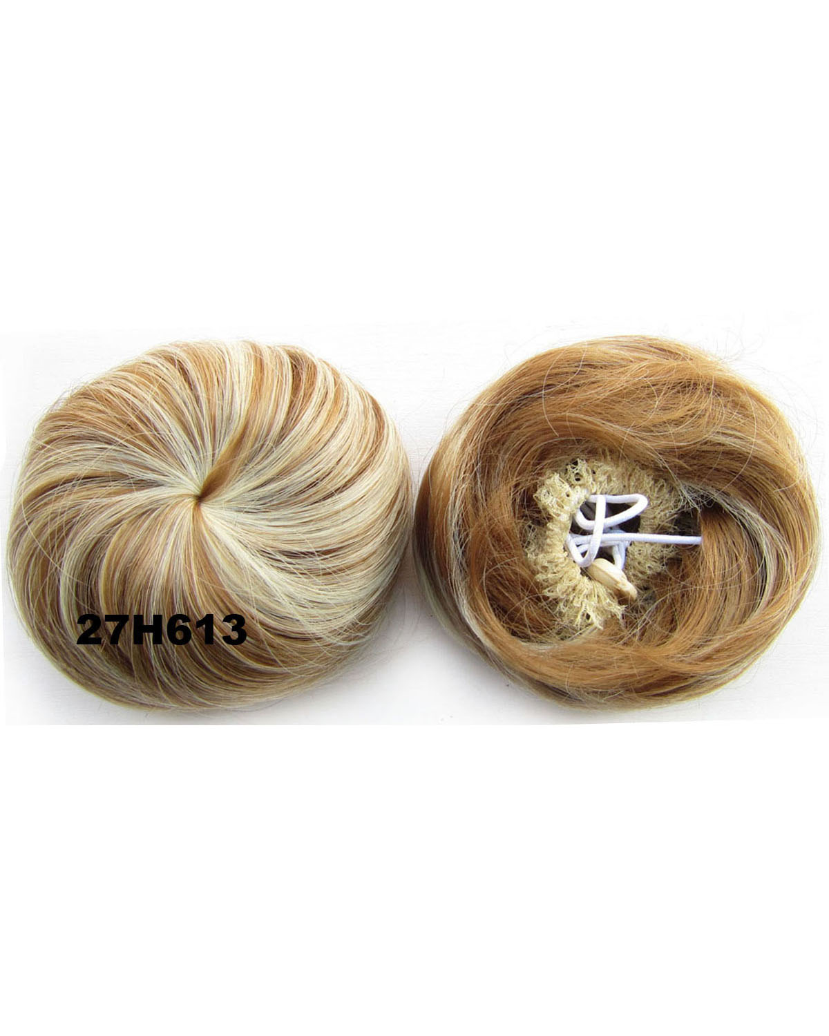 Ladies Clean Straight Short Hair Buns Drawstring Synthetic Hair Extension Bride Scrunchies27H613