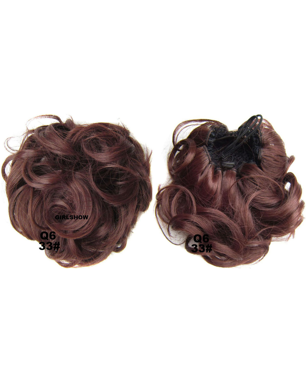 Ladies Delica Curly and Short Hair Buns Drawstring Synthetic Hair Extension Bride Scrunchies 33#