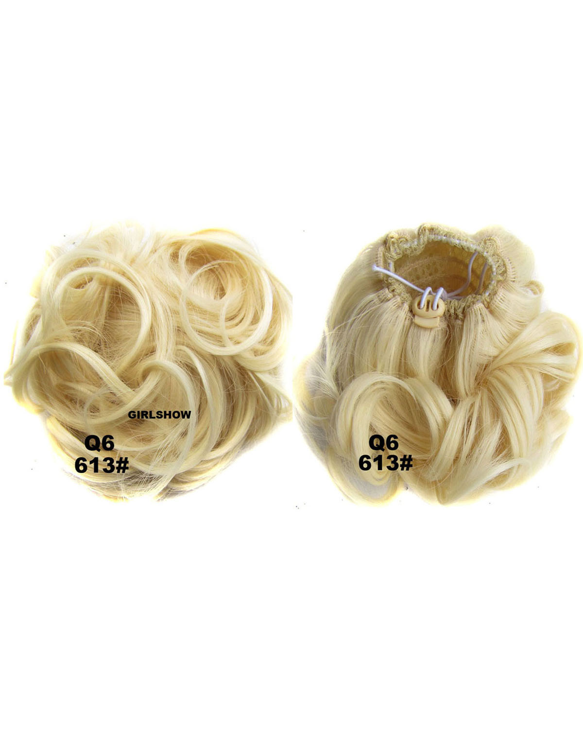 Ladies Delica Curly and Short Hair Buns Drawstring Synthetic Hair Extension Bride Scrunchies 613#