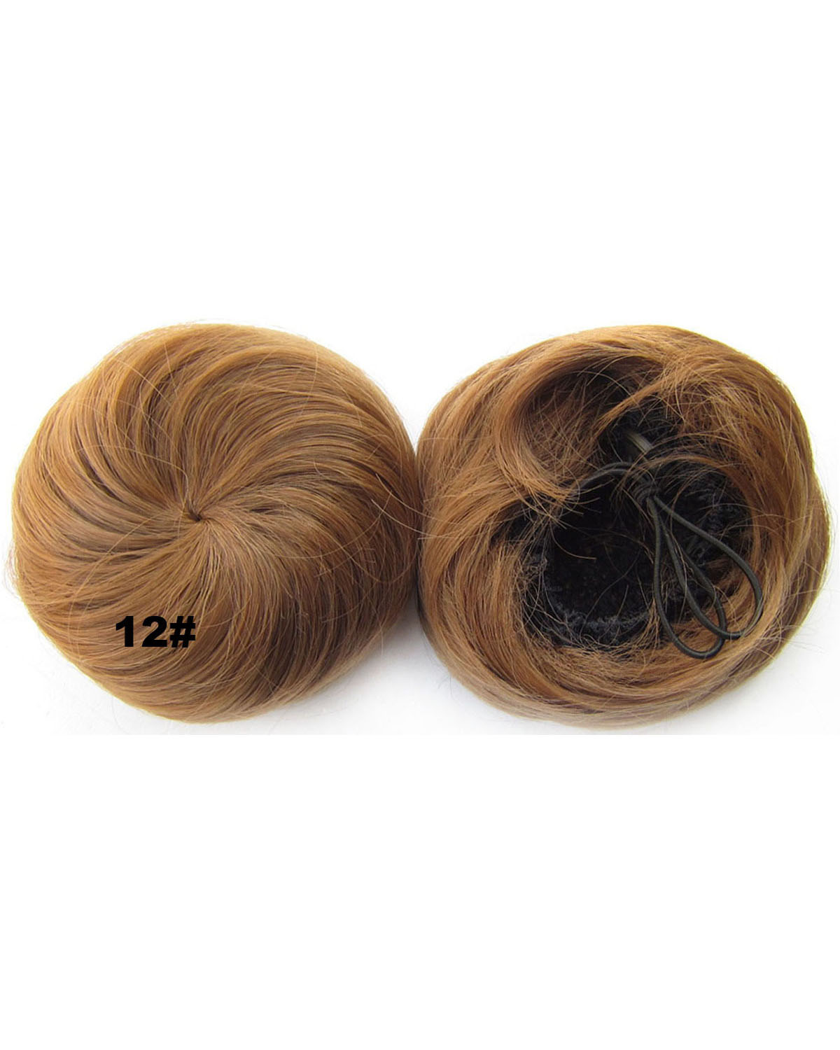 Ladies Dense Straight Short Hair Buns Drawstring Synthetic Hair Extension Bride Scrunchies 12#