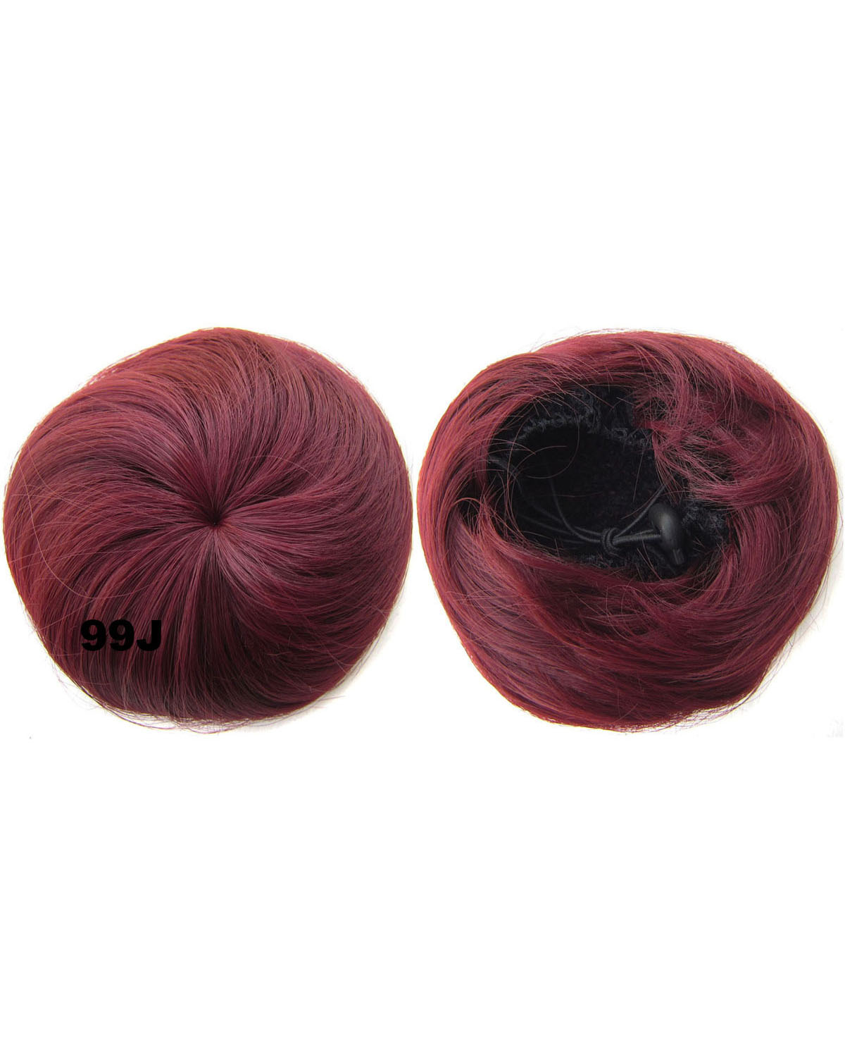 Ladies Elaborate and Smooth Curly and Short Hair Buns Drawstring Synthetic Hair Extension Bride Scrunchies 99J