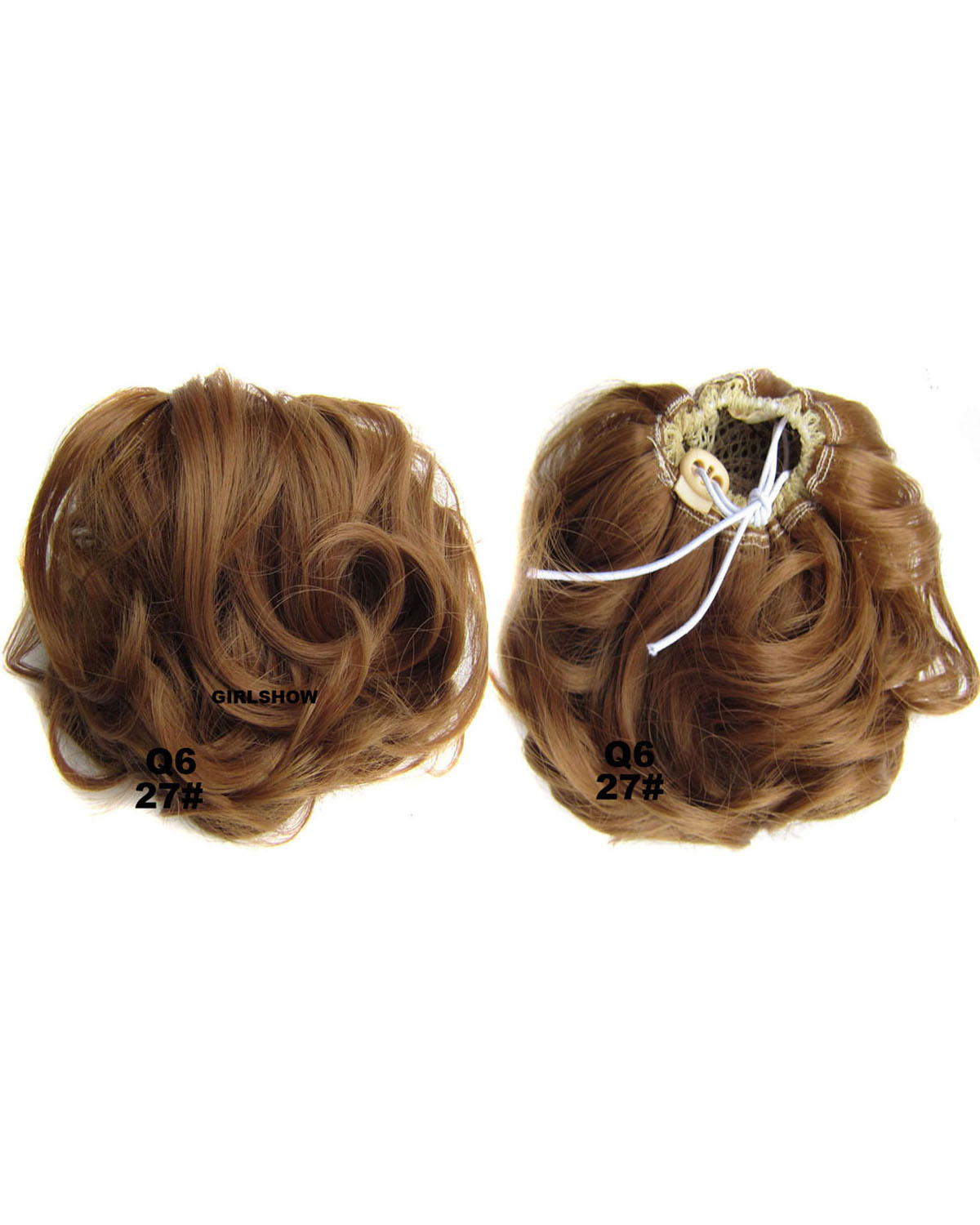 Ladies Elaborate Curly and Short Hair Buns Drawstring Synthetic Hair Extension Bride Scrunchies  27#
