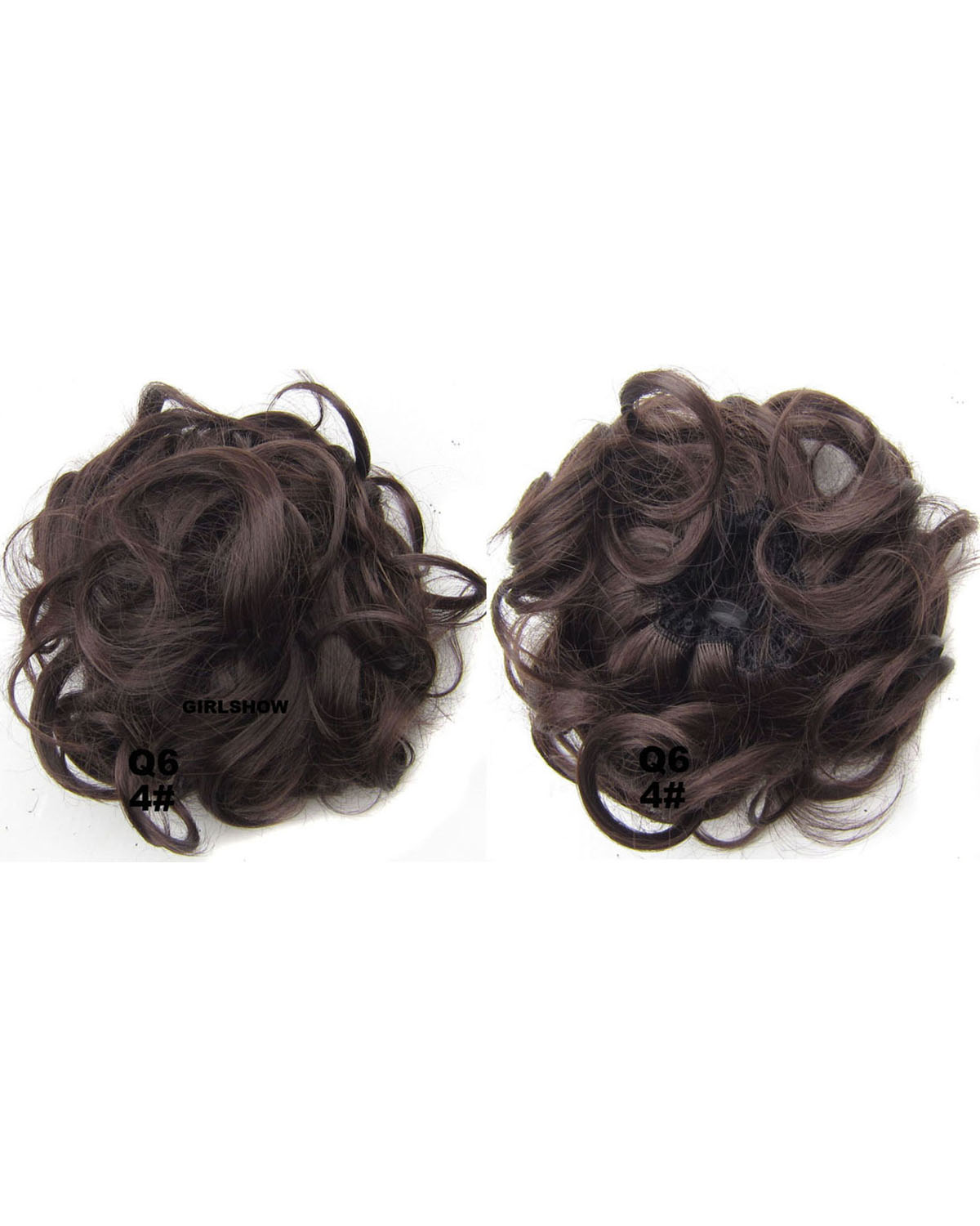 Ladies Elegant and Popular Curly and Short Hair Buns Drawstring Synthetic Hair Extension Bride Scrunchies  4#