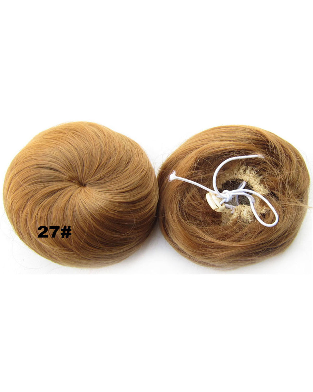 Ladies Excellent Curly and Short Hair Buns Drawstring Synthetic Hair Extension Bride Scrunchies 27#