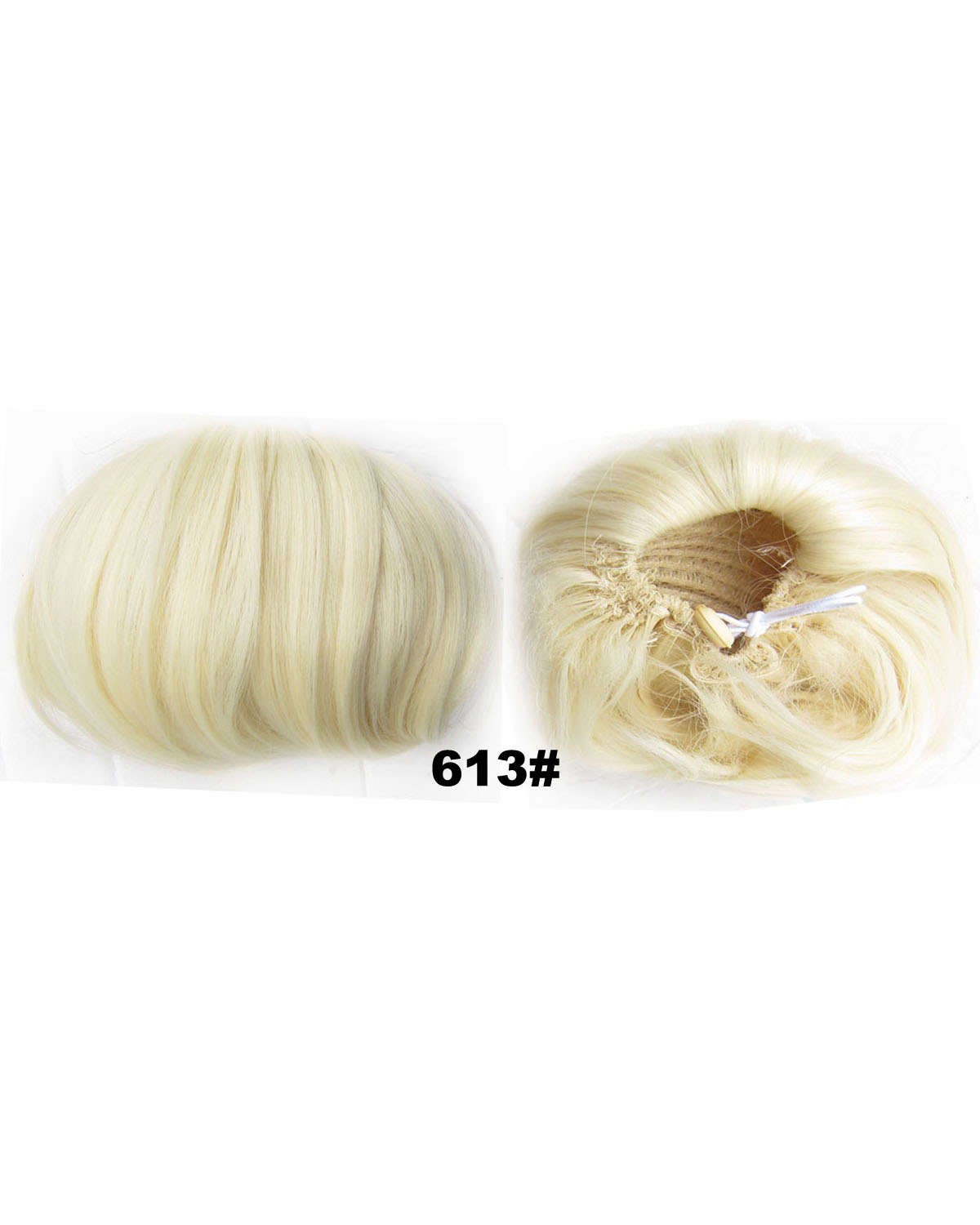 Ladies Faddish Straight Short Hair Buns Drawstring Synthetic Hair Extension Bride Scrunchies  613#