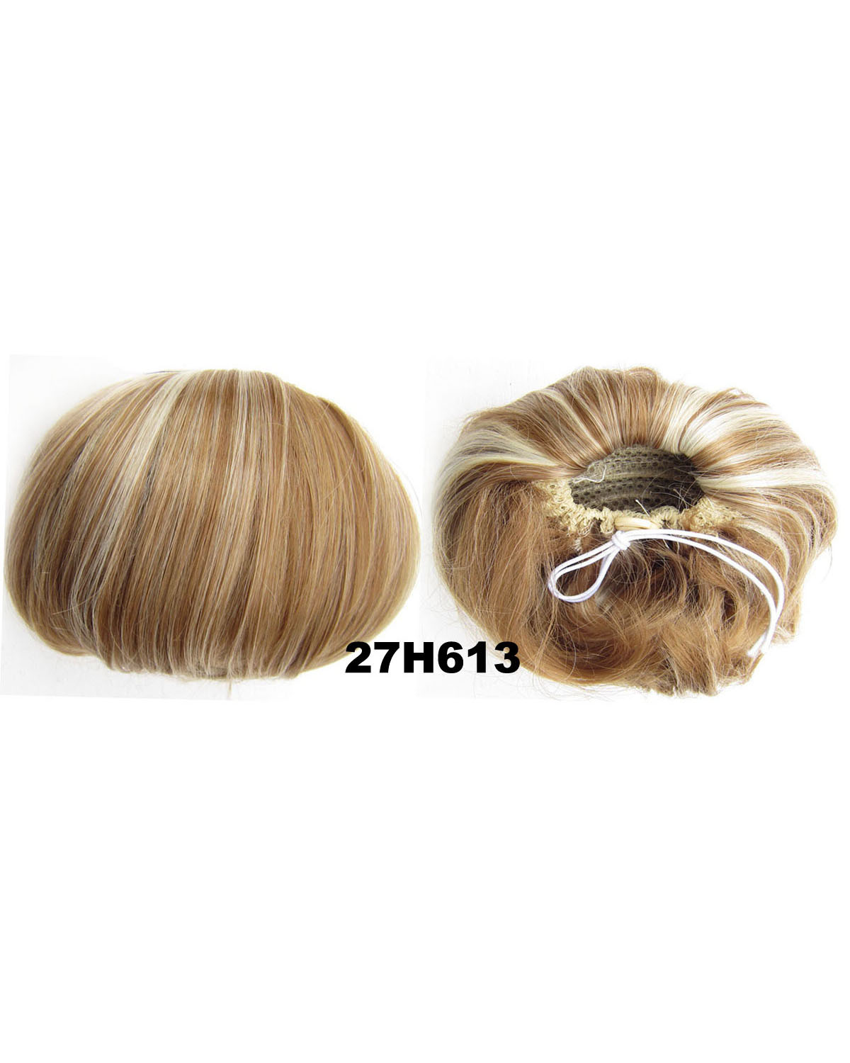Ladies Fashionable Straight Short Hair Buns Drawstring Synthetic Hair Extension Bride Scrunchies  27H613