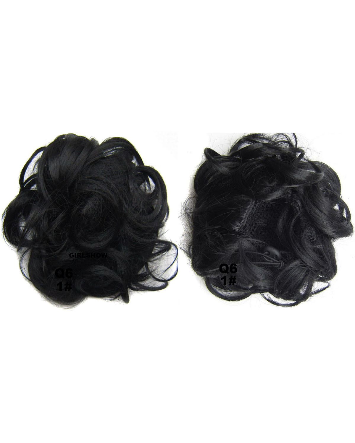 Ladies Full Curly and Short Hair Buns Drawstring Synthetic Hair Extension Bride Scrunchies 1#