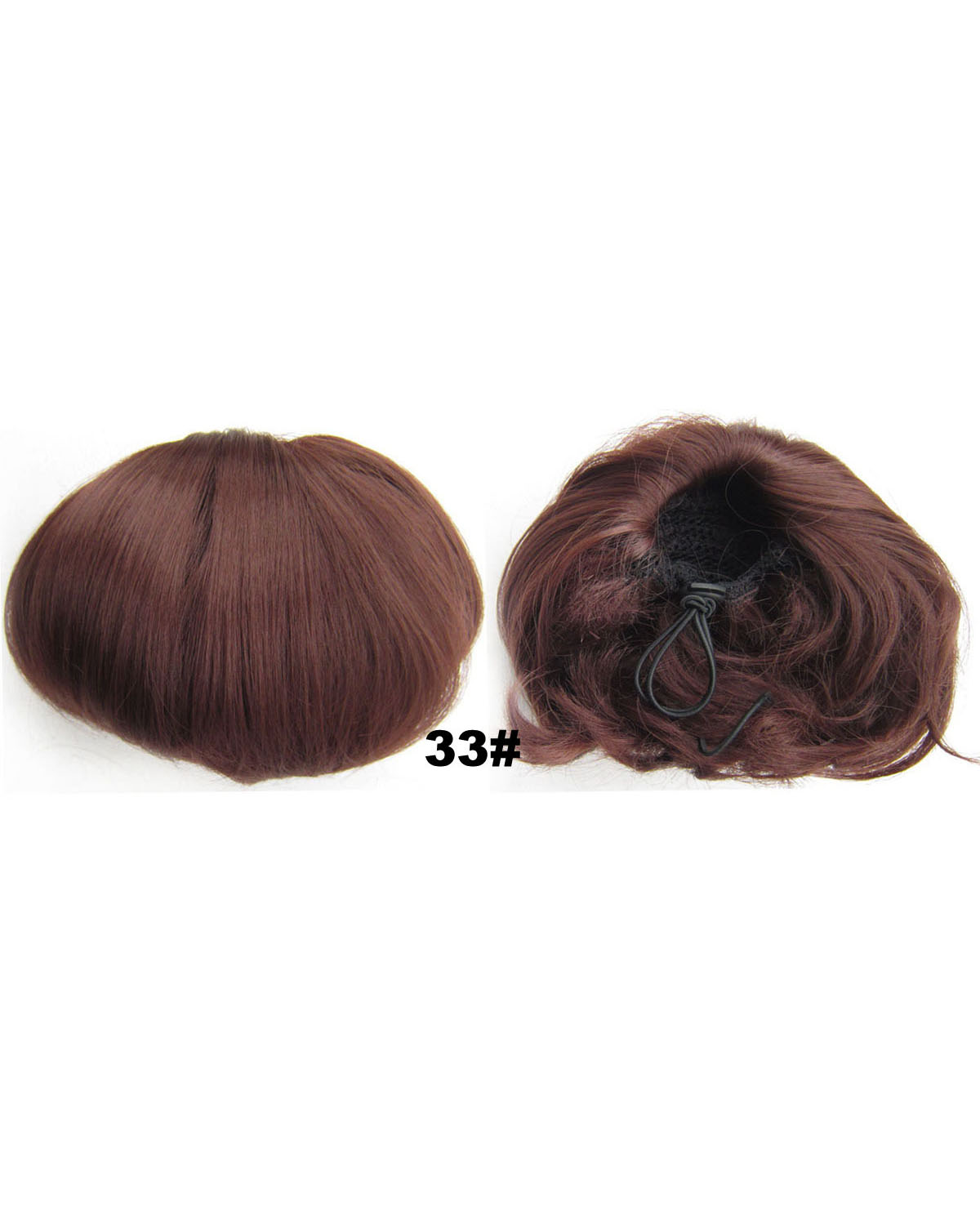 Ladies Glamour Straight Short Hair Buns Drawstring Synthetic Hair Extension Bride Scrunchies  33#
