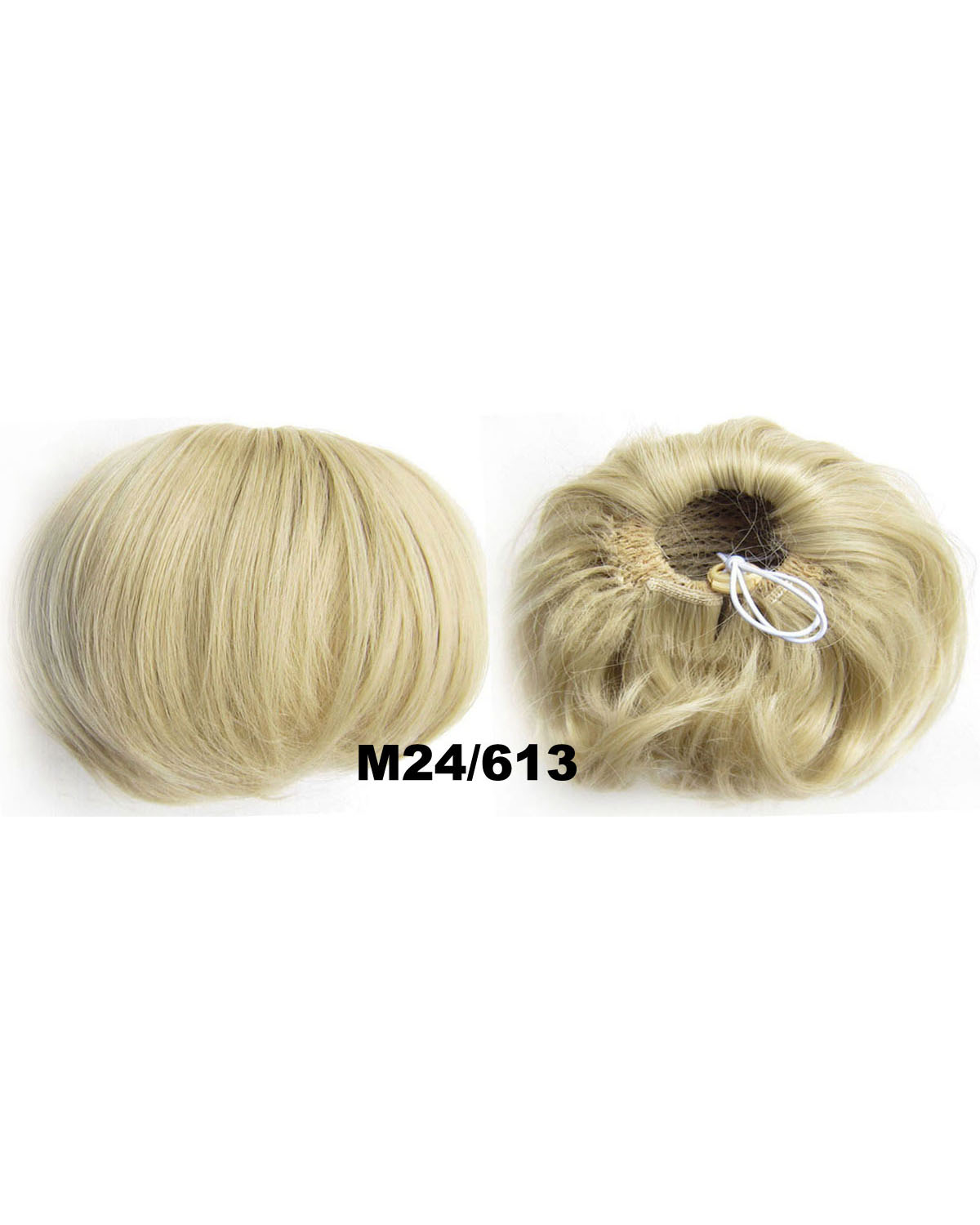 Ladies Graceful Straight Short Hair Buns Drawstring Synthetic Hair Extension Bride Scrunchies M24/613