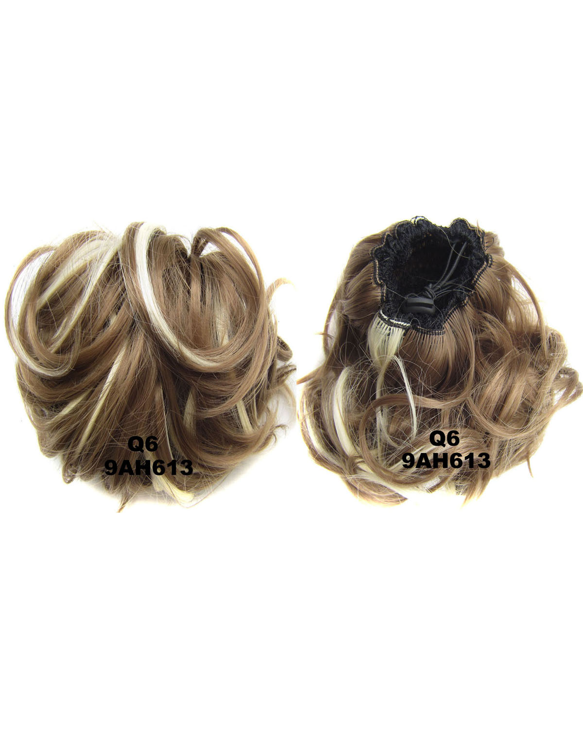 Ladies Great Quality Curly and Short Hair Buns Drawstring Synthetic Hair Extension Bride Scrunchies 9AH613