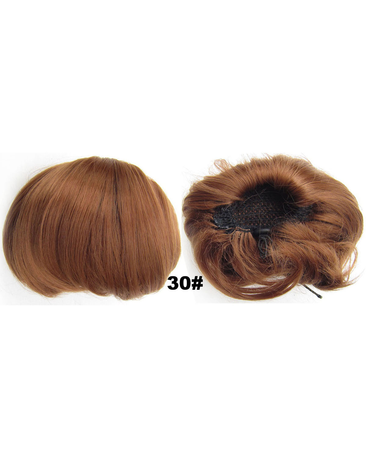 Ladies Hot-sale Straight Short Hair Buns Drawstring Synthetic Hair Extension Bride Scrunchies 30#