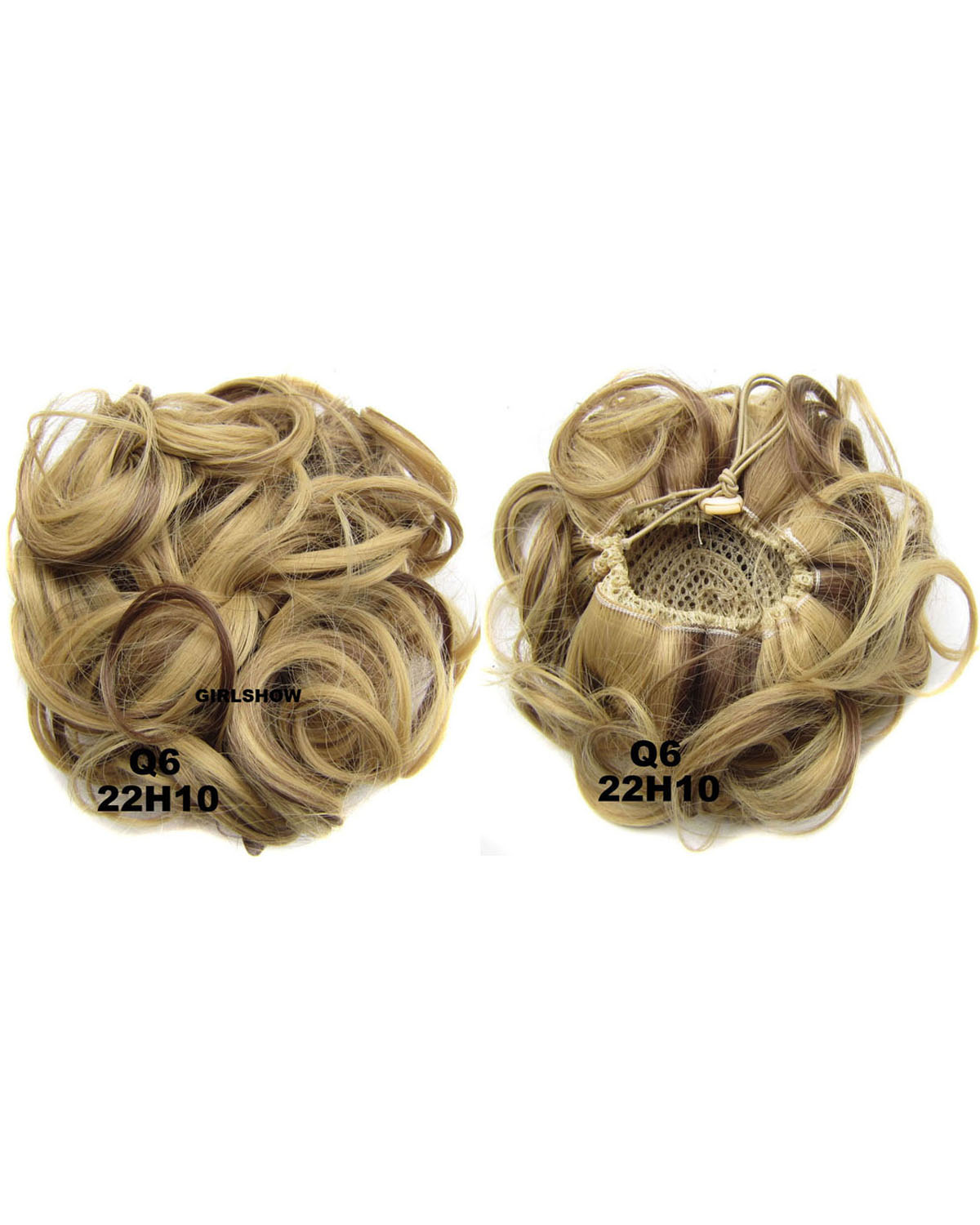 Ladies Newly and Elaborate Curly and Short Hair Buns Drawstring Synthetic Hair Extension Bride Scrunchies 22H10