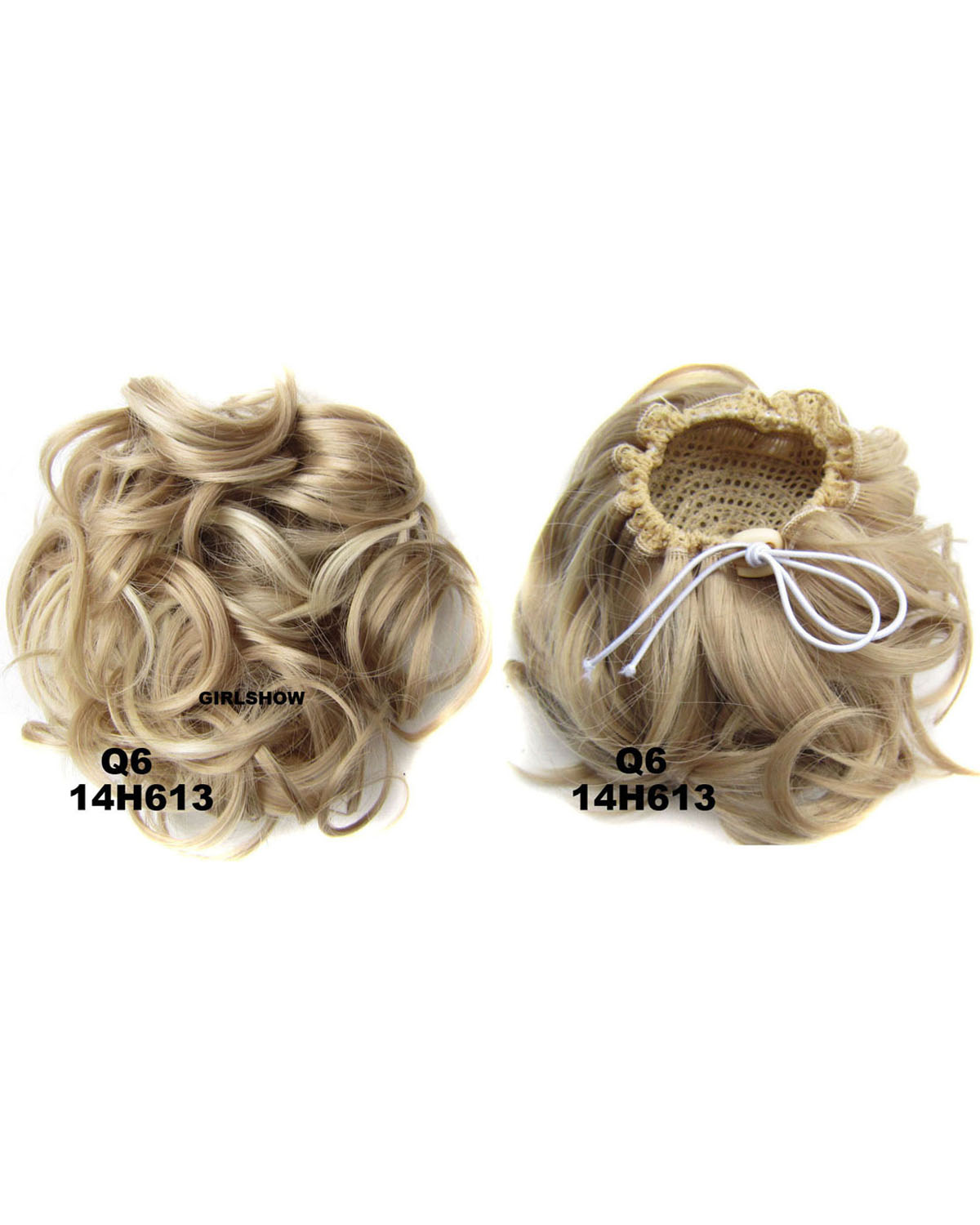 Ladies Newly and Great Quality Curly and Short Hair Buns Drawstring Synthetic Hair Extension Bride Scrunchies 14H613