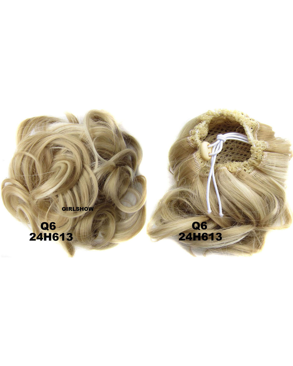 Ladies Newly  Elaborate Curly and Short Hair Buns Drawstring Synthetic Hair Extension Bride Scrunchies 24H613