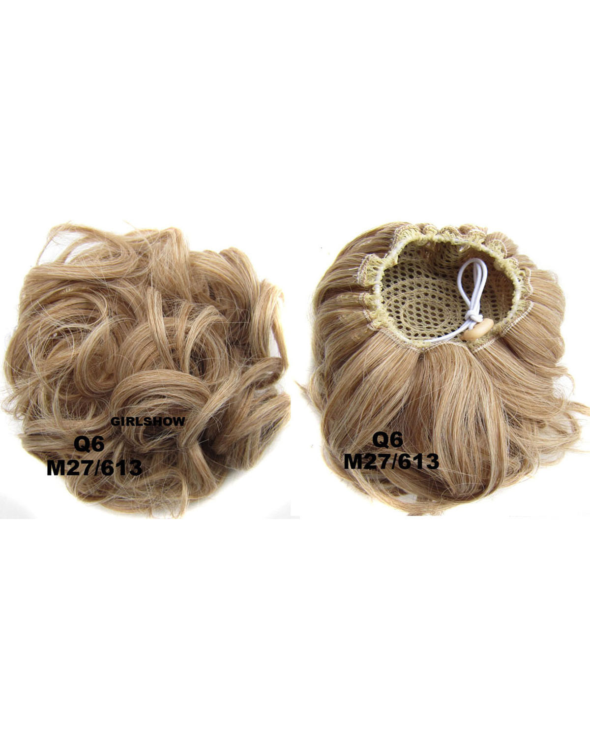 Ladies Newly Great  Curly and Short Hair Buns Drawstring Synthetic Hair Extension Bride Scrunchies M27/613