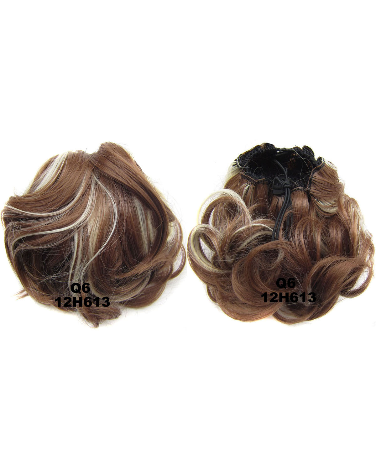 Ladies Newly Hot-sale  Curly and Short Hair Buns Drawstring Synthetic Hair Extension Bride Scrunchies 12H613