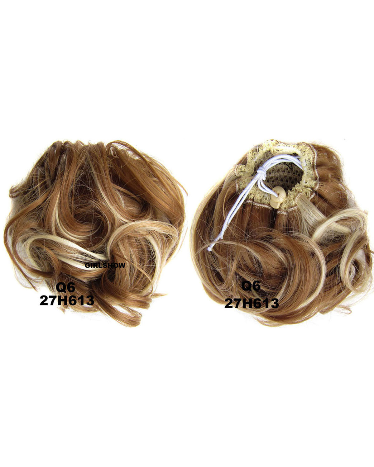 Ladies Newly Vibrant Curly and Short Hair Buns Drawstring Synthetic Hair Extension Bride Scrunchies27H613