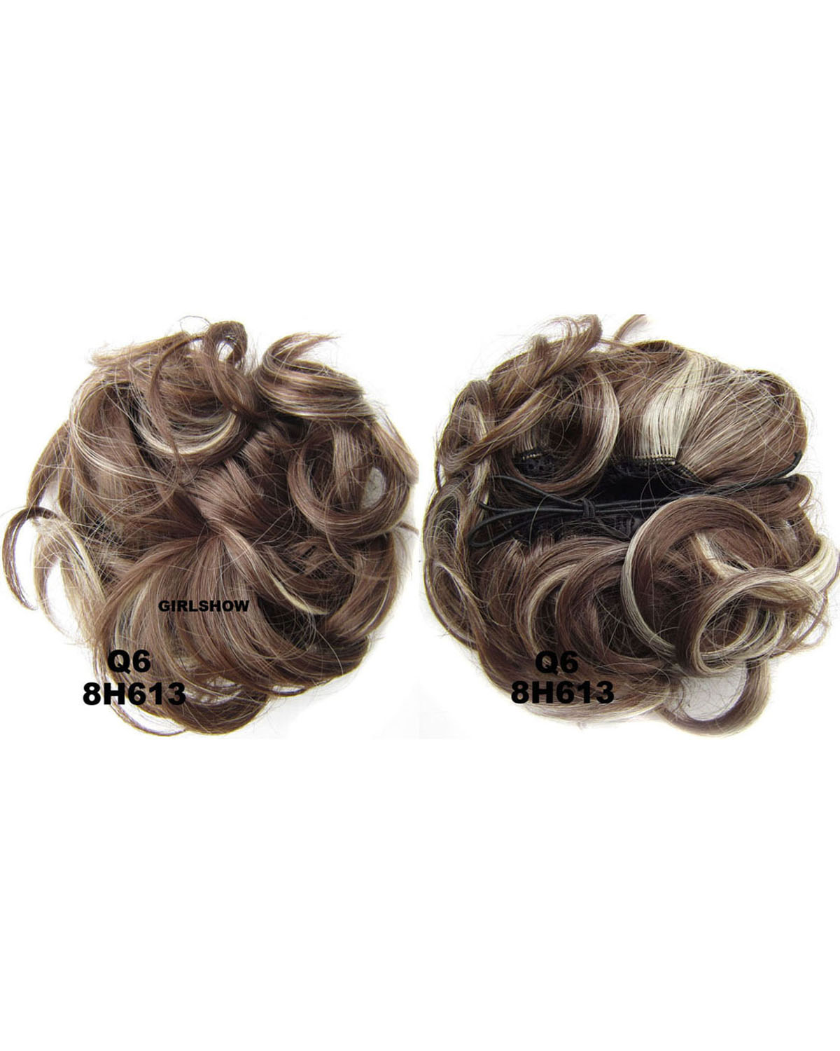 Ladies Popular and High-class Curly and Short Hair Buns Drawstring Synthetic Hair Extension Bride Scrunchies8H613