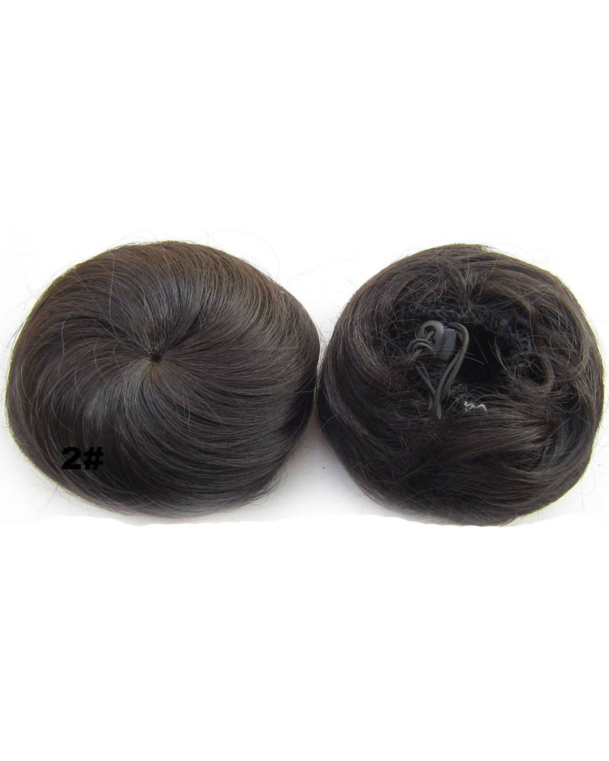 Ladies Popular Straight Short Hair Buns Drawstring Synthetic Hair Extension Bride Scrunchies  2#