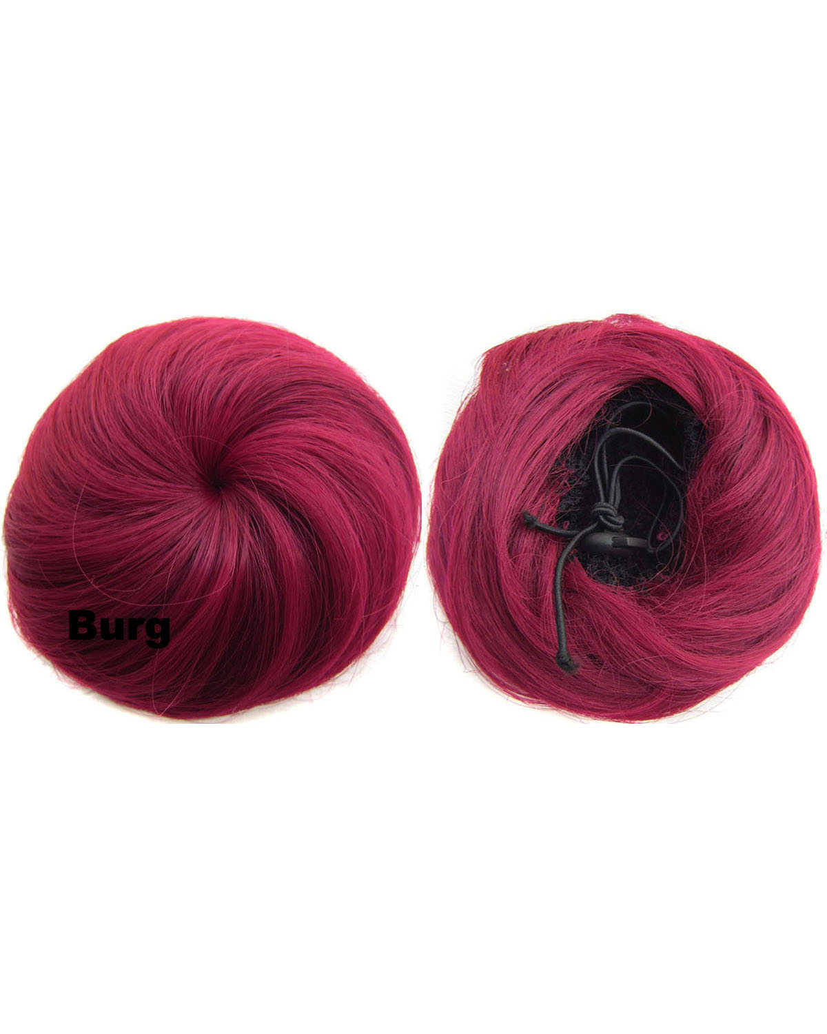 Ladies Refinement Curly and Short Hair Buns Drawstring Synthetic Hair Extension Bride Scrunchies Burg