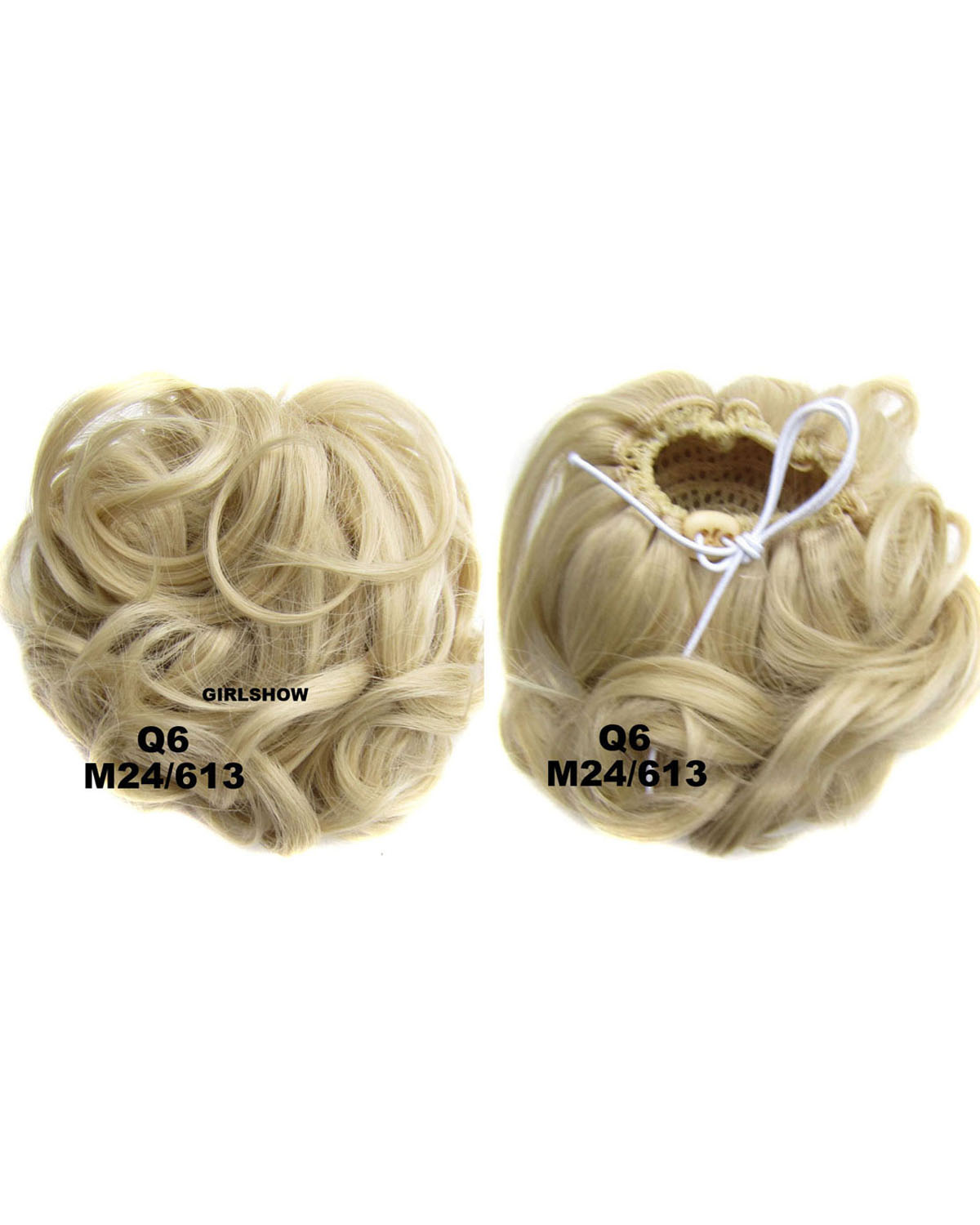 Ladies  Refinement Curly and Short Hair Buns Drawstring Synthetic Hair Extension Bride Scrunchies M24/613