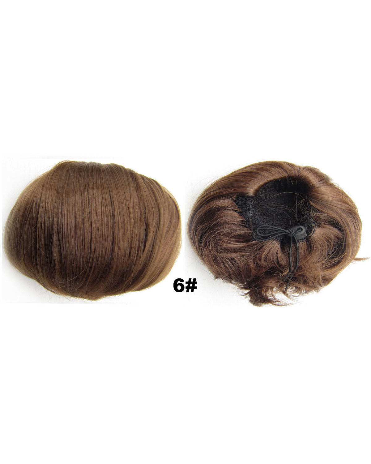 Ladies Seductive Straight Short Hair Buns Drawstring Synthetic Hair Extension Bride Scrunchies 6#